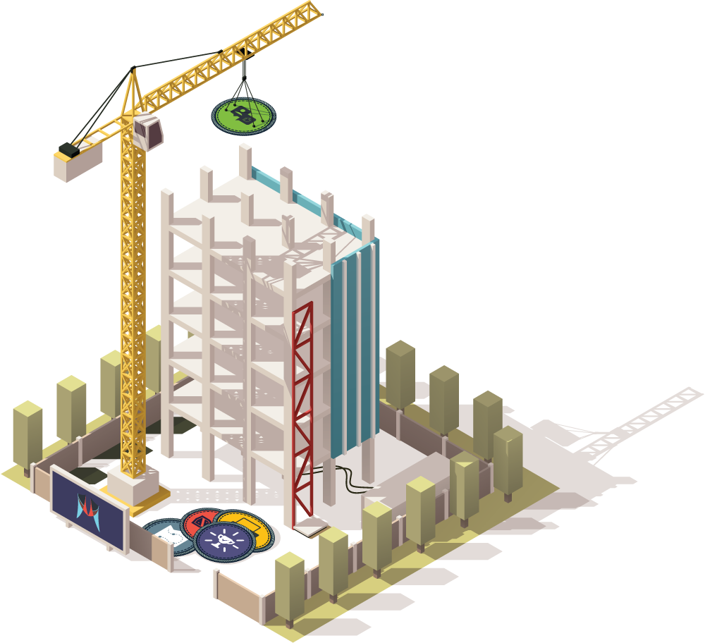 Constructing a building with badges